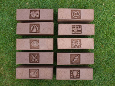 Carved brick symbols for museum project