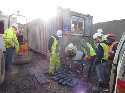 Delivering brick work to site