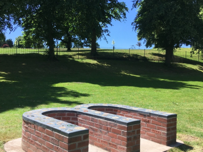 Completed brick bench in Jubilee Park