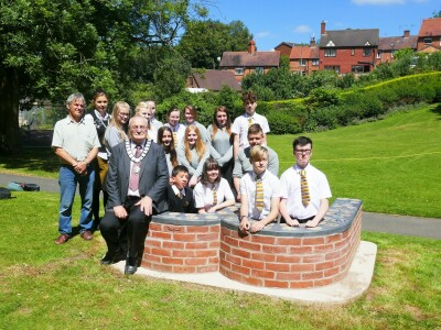 Completed bench with Mayor of Whitchurch and school students
