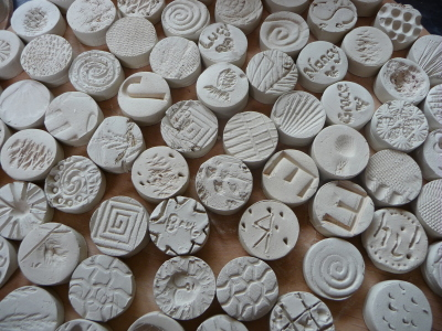 Unfired clay textured discs